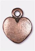 Breloque en métal coeur 10x7 mm cuivre x4