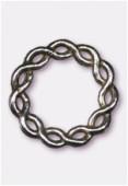 Perle en métal anneau rond tressé 24 mm argent vieilli x1