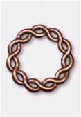 Perle en métal anneau rond tressé 24 mm cuivre x1