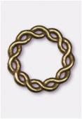 Perle en métal anneau rond tressé 24 mm bronze x1