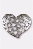 Pendentif en métal coeur ajouré 35x30 mm argent vieilli x1