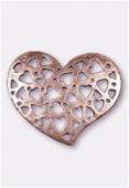 Pendentif en métal coeur ajouré 35x30 mm cuivre x1