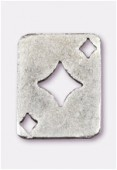 Breloque en métal carte carreau 19x15 mm argent vieilli x2