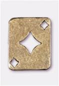 Breloque en métal carte carreau 19x15 mm bronze x2