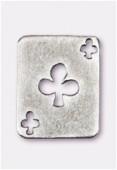 Breloque en métal carte tréfle 19x15 mm argent vieilli x2