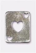 Breloque en métal carte coeur 19x15 mm argent vieilli x2
