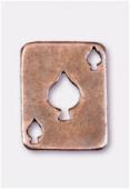 Breloque en métal carte pique 19x15 mm cuivre x2