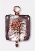 Feuille d'argent carré 21x20 mm amethyst fil cuivre x1