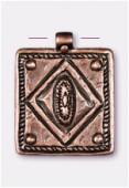 Pendentif en métal ethnique carré 30 mm cuivre x1