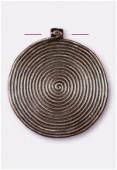 Pendentif en métal ethnique spirale 46 mm cuivre x1