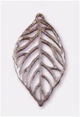 Pendentif en métal feuille découpée cuivre 59x33 mm x1
