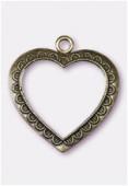 Pendentif en metal grand coeur évidé 50x45 mm bronze x1