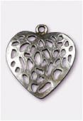 Pendentif en métal coeur ajouré 30x28 mm argent vieilli x1