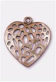 Pendentif en métal coeur ajouré 30x28 mm cuivre x1