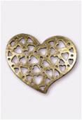 Pendentif en métal coeur ajouré 35x30 mm bronze x1