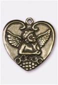 Pendentif en metal coeur ange pt 25x25 mm bronze x1