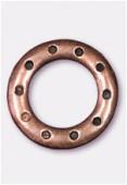 Perle en métal anneau 10 trous 23 mm cuivre x1