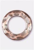 Perle en métal anneau martelé 25 mm cuivre x2
