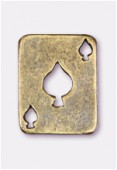 Breloque en métal carte pique 19x15 mm bronze x2
