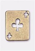 Breloque en métal carte tréfle 19x15 mm bronze x2