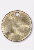 Breloque en métal sequin martelé 24 mm bronze x1