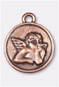 Breloque en métal médaillon ange 23 mm cuivre x1