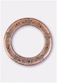 Perle en métal anneau étoiles 35 mm cuivre x1