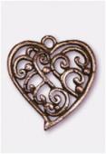 Pendentif en métal coeur volutes 30x28 mm cuivre x1