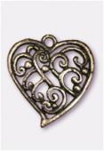 Pendentif en métal coeur volutes 30x28 mm bronze x1