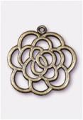 Pendentif en métal fleur ajourée 30 mm bronze x1
