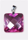 Zirconium pendant carré pink 18 mm x1