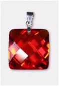 Zirconium pendant carré red 18 mm x1
