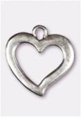 Pendentif en métal coeur YSL 28x22 mm argent vieilli x1