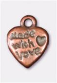 Breloque en métal coeur with love 12x9 mm cuivre x4