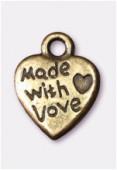 Breloque en métal coeur with love 12x9 mm bronze x4