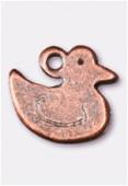Breloque en métal canard 12x10 mm cuivre x2