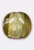 Feuille d'argent palet bombé 16 mm olivine x2
