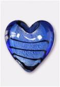 Feuille d'argent coeur 23 mm sapphire x1