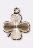 Breloque en métal trèfle à 4 feuilles 20x16 mm bronze x2