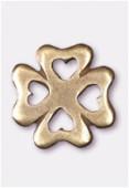 Breloque en métal trèfle à 4 coeurs 15 mm bronze x2