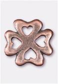 Breloque en métal trèfle à 4 coeurs 15 mm cuivre x2