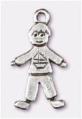 Breloque en métal little boy 22x10 mm argent vieilli x2
