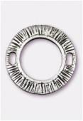 Perle en métal anneau strié 27 mm argent vieilli x1