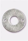 Perle en métal anneau 2 trous 15 mm argent vieilli x4