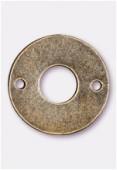 Perle en métal anneau 2 trous 15 mm bronze x4