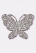 Estampe papillon 50x38 mm argent x1