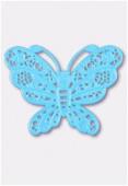Estampe papillon 50x38 mm turquoise x1
