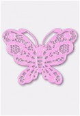 Estampe papillon 50x38 mm rose x1