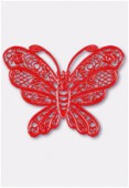 Estampe papillon 35x25 mm rouge x1