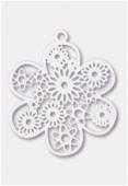 Estampe fleur 27 mm blanc x1